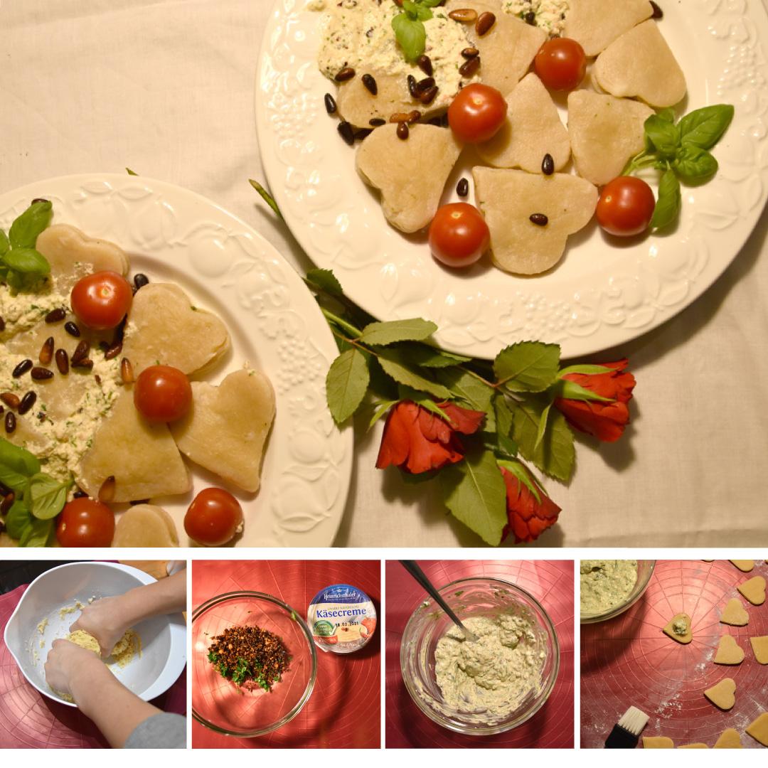 Käse-Herzen-Tortellini