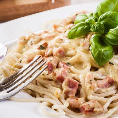 Spaghetti nach Carbonara Art