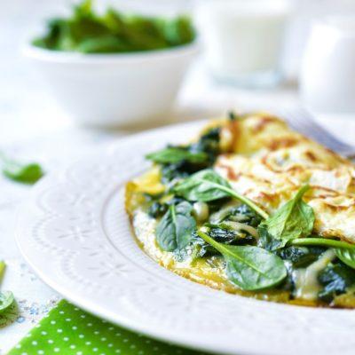 Omelette mit Spinat & Ziegenkäse