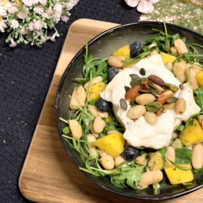 Bohnensalat mit Ziegen-Camembert